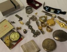 Selection of costume jewellery, silver pocket watch (af) compacts etc.