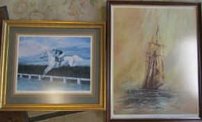 Framed limited edition print of Desert Orchid by Maxine Cox 2015/2500 and a framed print depicting