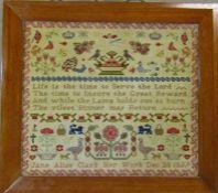 Framed Victorian sampler by Jane Alice Clark Dec 20 1859 55 cm x 49 cm
