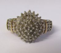 9ct gold diamond cluster ring 1.00 ct total size M total weight 5.8 g