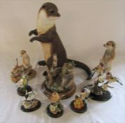 Selection of Country Artists animal figurines inc 'Watchful' otter H 35 cm, Pair of goldfinches with