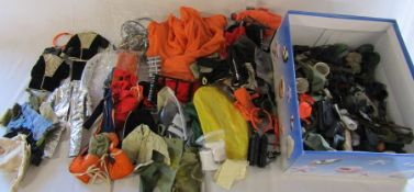 Box of vintage Action Man outfits and accessories