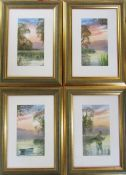 4 framed watercolours of lakeside scenes by D Haddow 27 cm x 37 cm (size including frame)