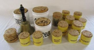 Selection of ceramic spice jars inc Kiln Craft and a brass bell