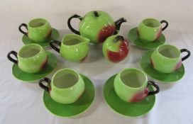 Carlton ware apple design tea set (2 small chips to underside of teapot lid)