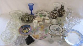 2 boxes of assorted ceramics and glassware inc coal mining plates