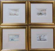 4 gilt framed prints of nautical scenes by Tim Stocker 34 cm x 31 cm (size including frame)