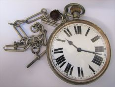 Nickel cased Goliath pocket watch D 10.5 cm case no 93146 together with silver fob chain and fob (