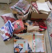 Large quantity of patchwork covers, cushions, bags etc & a pair of curtains