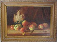 Gilt framed oil on canvas of still life, signed lower right corner (indistinguishable) 56 cm x 41