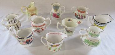Set of 10 Royal Worcester replica 250th anniversary jugs inc Flight gold, Rail and chain, Oriental