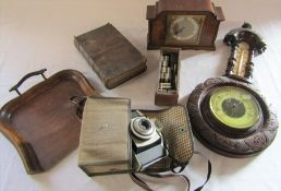Small wall barometer, vintage Kodak camera, mantel clock etc
