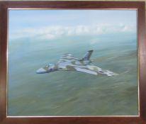 Framed oil on canvas of Avro Vulcan XM607 by C D Stothard dated 1983 (Christopher D Stothard) 68