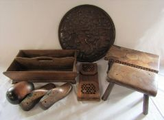 Various treen inc footstool, folding stool, foot lasts, cutlery box, folding book shelf and charger