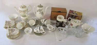 Assorted ceramics and glassware inc Royal Doulton, Royal Adderley 'Arcadia' coffee set and Royal