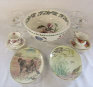 Large Portmeirion Botanic garden bowl, pair of Royal Worcester the Country Diary of an Edwardian