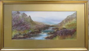 Gilt framed late Victorian early Edwardian watercolour of Badgeworthy water, Doone Valley, Exmoor