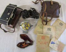 AA car badge, camera, ephemera, pipe & Imperator 8 x 26 binoculars