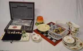 Cutlery box with some cutlery, various ceramics, chess set etc