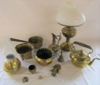Various brass ware inc oil lamp (converted to electricity), planters and kettle