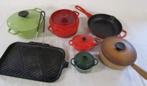 Selection of cast iron cookware inc Le Creuset, Chasseur and Invicta