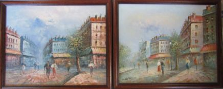 Pair of oil on canvas paintings of Parisian scenes signed Burnett 55 cm x 45 cm (size including
