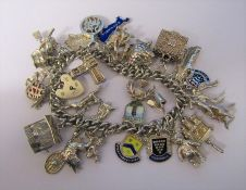 Silver charm bracelet weight 97.9 g / 3.15 ozt