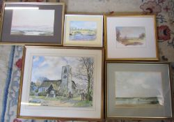 Selection of framed watercolours inc 'Evening glow' by Michael Joyce, John Mikey, Lindsay Wise and