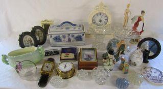 Various ceramics and glassware etc inc clocks, pair of glass vases, cruet set, cigarette flag silks,