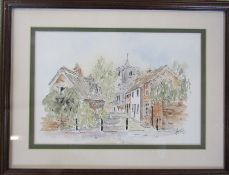 Framed pen and watercolour painting of St Marys Horncastle by Ash Buckingham 43 cm x 33 cm (size