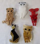 5 Lea Stein style brooches inc cats and foxes