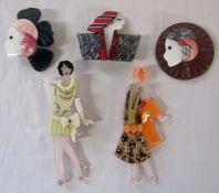5 Lea Stein style Art Deco brooches