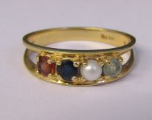 14 ct gold 4 stone ring consisting of citrine, sapphire, seed pearl and aquamarine size P/Q weight 3