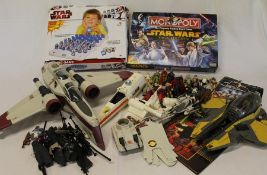 Box of Star Wars figures, X-Wing fighter, Monopoly etc