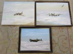 3 oil on canvas aviation paintings by D J Cassady dated 1992 (framed Lancaster paintings 68 cm x 52