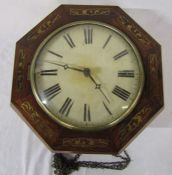 Octagonal wall clock inlaid with brass D 34 cm