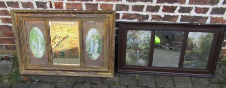 2 wall mirrors flanked by portraits of ladies and country scenes (prints) 88 cm x 50 cm and 91 cm
