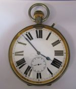 MM & Co patent no 10292 nickel cased Goliath pocket watch D 10.5 cm case no 3506648