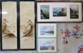2 signed Peter Scott prints 18 cm x 13.5 cm & assorted Oriental pictures