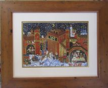Framed watercolour and gouache painting of a Russian folk scene by Elena Khmeleva (exhibited at