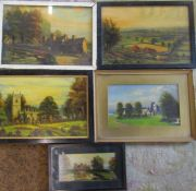 5 framed oil paintings by Elias Lacey - Viewing from Beacon Hill 1941, Old Castle Mill 1941,