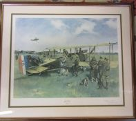 Large framed print 'First Air Post' by Terence Cuneo (1907-1996) signed in pencil by the artist 86