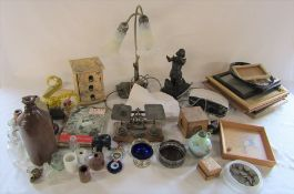 2 boxes of assorted items inc postal scales, picture frames, Roberts alarm clock, Dedication