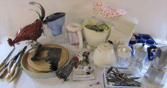Assorted kitchenalia inc Kenwood mixer, cutlery, expresso machine, Brita filter jug etc