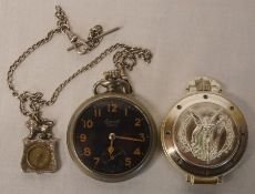Ingersoll Yankee Radiolite watch with silver fob compass & an Olimpia pocket watch