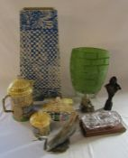 Selection of ceramics inc umbrella stand and Staffordshire 'Croft' pattern tea set, glass vase,