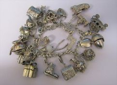 Silver charm bracelet weight 115.4 g / 3.71 ozt