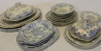 Quantity of Victorian Asiatic Pheasant & similar meat plates, tureens & dishes