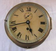 Brass cased ship's clock D 16.5 cm