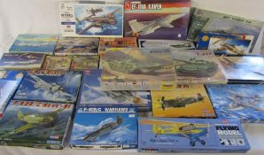 Large quantity of model kits inc FM-1 Wildcat, B-25J Mitchell, Walrus Mk-1, Enola Gay, BMP-2D Soviet